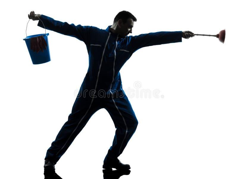 Obsługuje janitor hydraulika sylwetkę zdjęcia stock