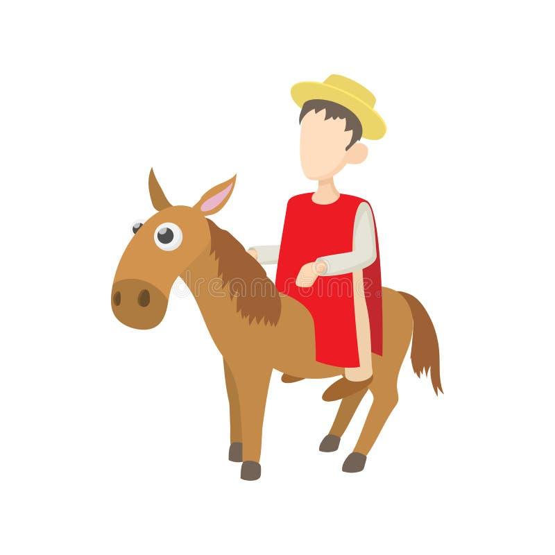 Obsługuje jechać osioł ikonę, kreskówka styl royalty ilustracja