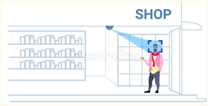 Obsługuje klienta rozpoznania pojęcia tożsamościowego twarzowego faceta wybiera akcesoria mody butika wnętrza nowożytną oc ilustracji