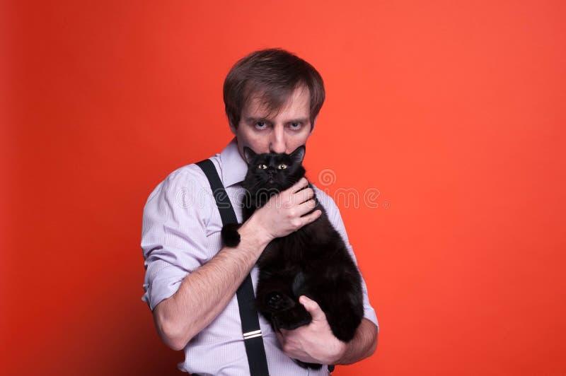 Obsługuje kota i patrzeć kamerę na pomarańczowym tle mienia i całowania fotografia stock