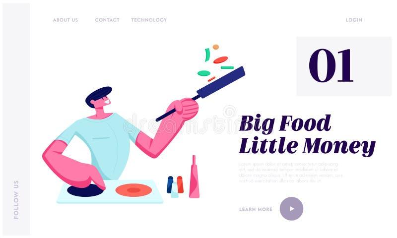 Obsługuje kucharstwo na kuchni Trzyma nieckę z jedzeniem w domu, Przygotowywa Wyśmienicie Zdrowego posiłek dla Datować lub Obiado royalty ilustracja