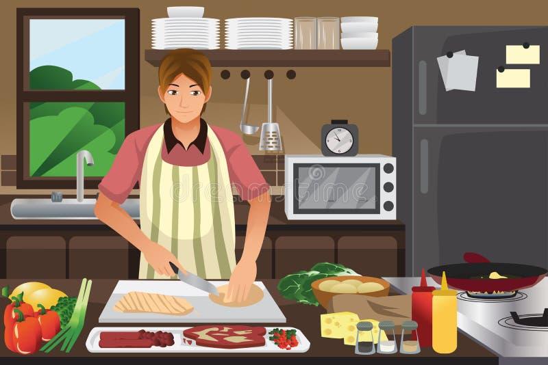 Obsługuje kucharstwo w kuchni ilustracja wektor