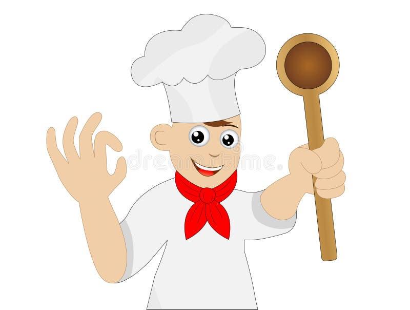 Obsługuje kucharza z łyżką w ręce royalty ilustracja