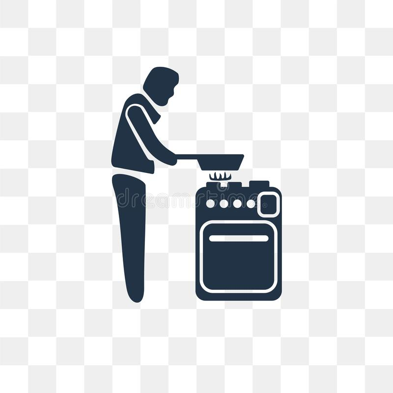 Obsługuje Kulinarną wektorową ikonę odizolowywającą na przejrzystym tle, mężczyzna royalty ilustracja