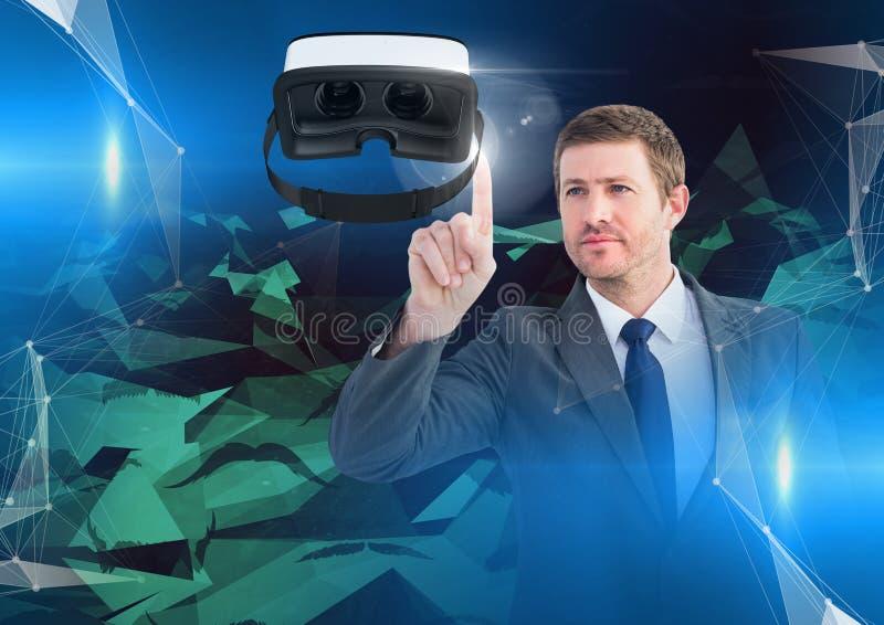 Obsługuje macanie i oddziałać wzajemnie z rzeczywistości wirtualnej słuchawki z przemiana skutkiem obrazy stock