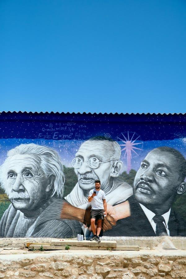 Obsługuje obrazów graffiti Wzdłuż Camino de Santiago zdjęcia stock