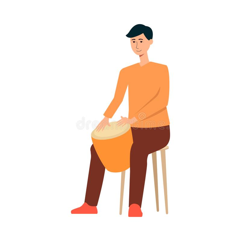 Obsługuje obsiadanie na krześle i bawić się na bęben kreskówki stylu ilustracja wektor