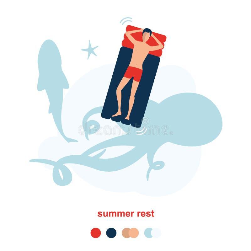 Obsługuje odpoczywać na spławowej gumowej nadmuchiwanej tratwie na morzu I pływania nad ośmiornicą, ryba i rozgwiazdą dużymi, royalty ilustracja