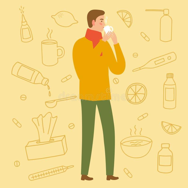 Obsługuje pić lekarstwo dla zimna i grypy royalty ilustracja