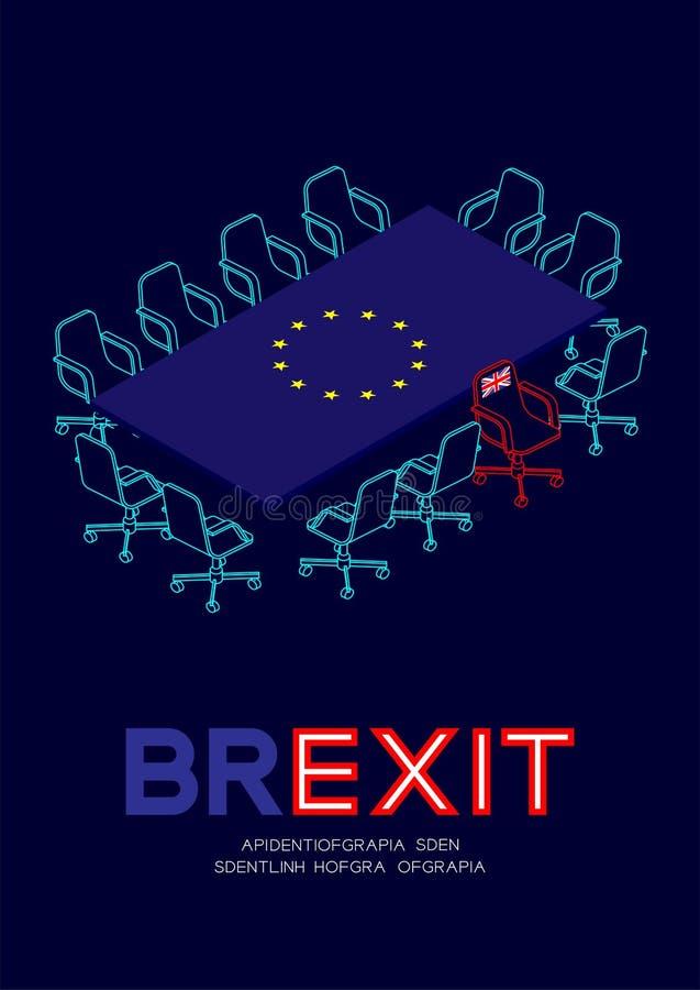 Obsługuje piktogram i isometric spotkanie stołu unii europejskiej UE flagi wzór, zlany królestwa krzesła urlop spotkanie, Brexit  royalty ilustracja