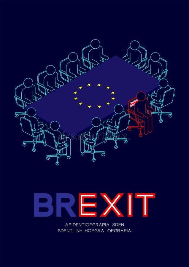Obsługuje piktogram i isometric spotkanie stołu unii europejskiej UE flagi wzór, zlany królestwa krzesła urlop spotkanie, Brexit  ilustracja wektor