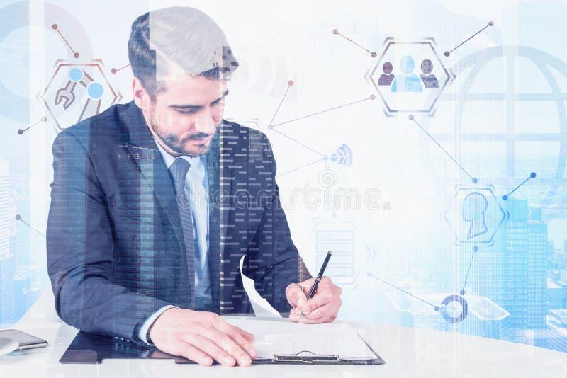Obsługuje pisać przy stołem, cyfrowy biznesowy interfejs royalty ilustracja