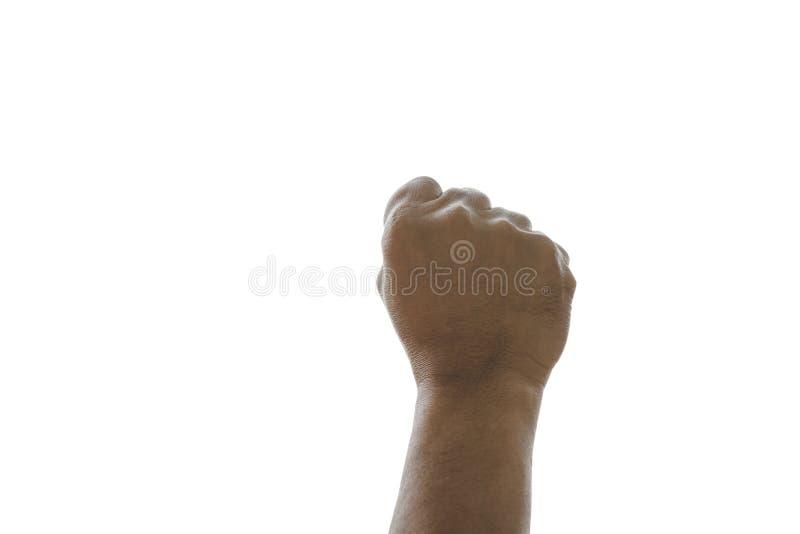 Obsługuje powstającego ręka gest jako pięść kształt odizolowywający na białym tle z ścinek ścieżką zdjęcie stock