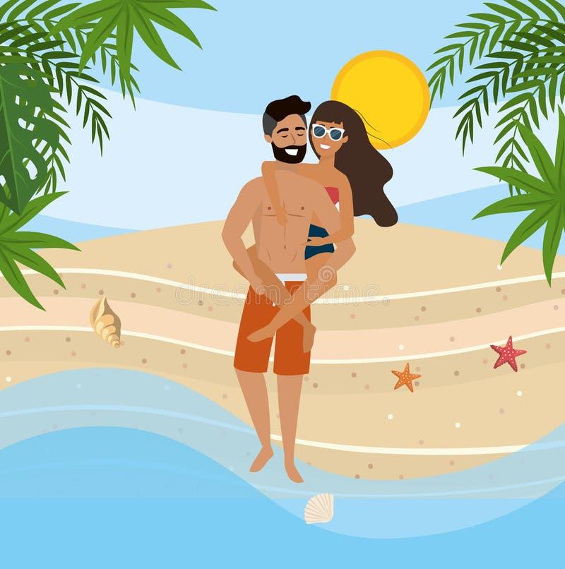 Obsługuje przewożenie w plecy kobieta z swimsuit i okularami przeciwsłonecznymi ilustracja wektor