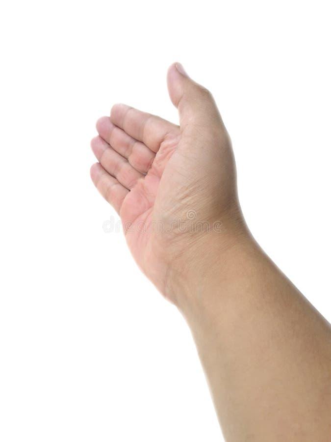Obsługuje ręka chwyt lub łapie niektóre przedmiot, chwyt, ręka gest pojedynczy białe tło obrazy royalty free