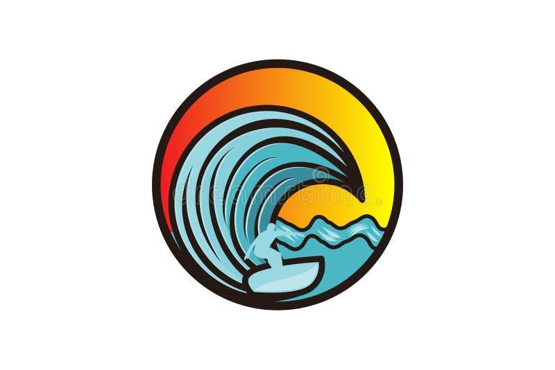 obsługuje surfing i fala logo projektów inspirację Odizolowywającą na Białym tle, ilustracji