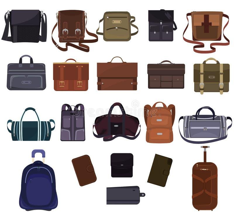Obsługuje torby mody torebkę, biznes skóry lub teczki wektorowy manlike notecase lub portfel biznesmen ilustracja i royalty ilustracja