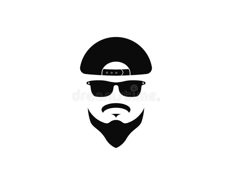 obsługuje twarz z brodą i nakrywa logo szablonu ikony wektorową ilustrację ilustracji