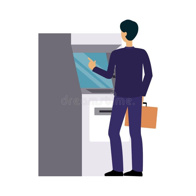 Obsługuje używać banka ATM maszynę, biznesmen robi gotówkowemu pieniądze wycofaniu lub karty kredytowej transakcji ilustracji