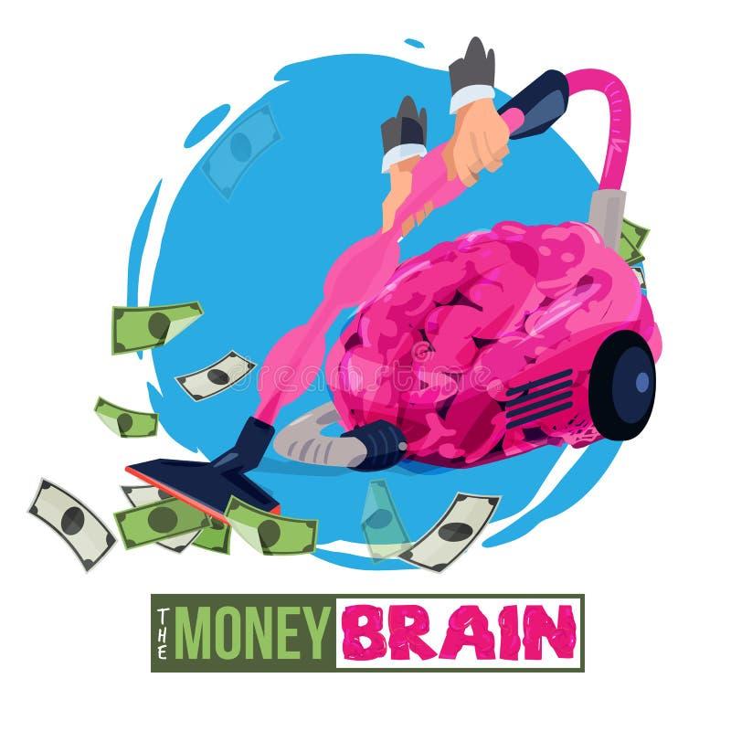Obsługuje używać mózg jako próżnia ssać w górę pieniądze pieniądze mózg - wektor ilustracja wektor