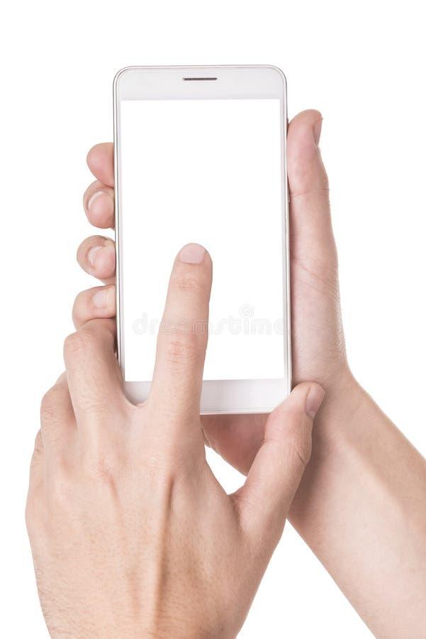 Obsługuje używać nowożytnego mądrze telefon odizolowywającego na bielu fotografia stock