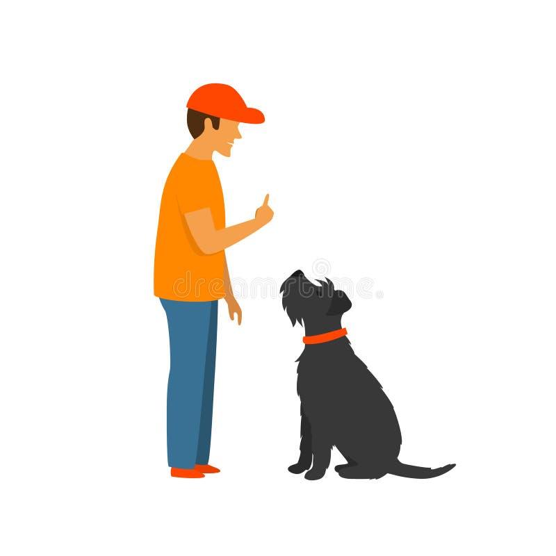 Obsługuje uczyć psa zostawać i siedzieć, podstawowych rozkazów posłuszeństwa szkolenie ilustracja wektor