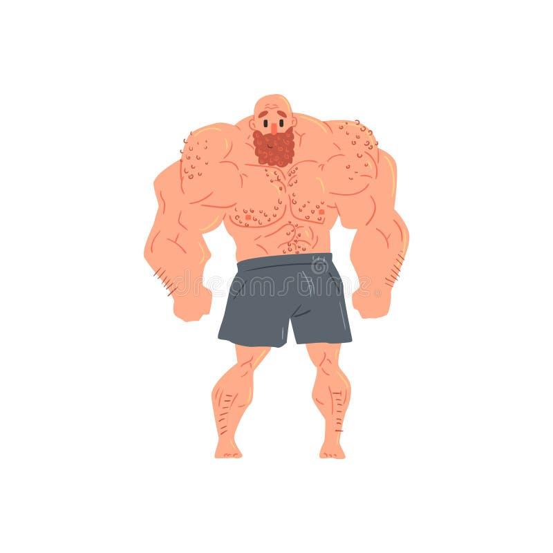Obsługuje W Czarnego boksera Bodybuilder Śmiesznym Uśmiechniętym charakterze Demonstruje mięśnie W Frontowego Lat Rozciągniętej p ilustracja wektor