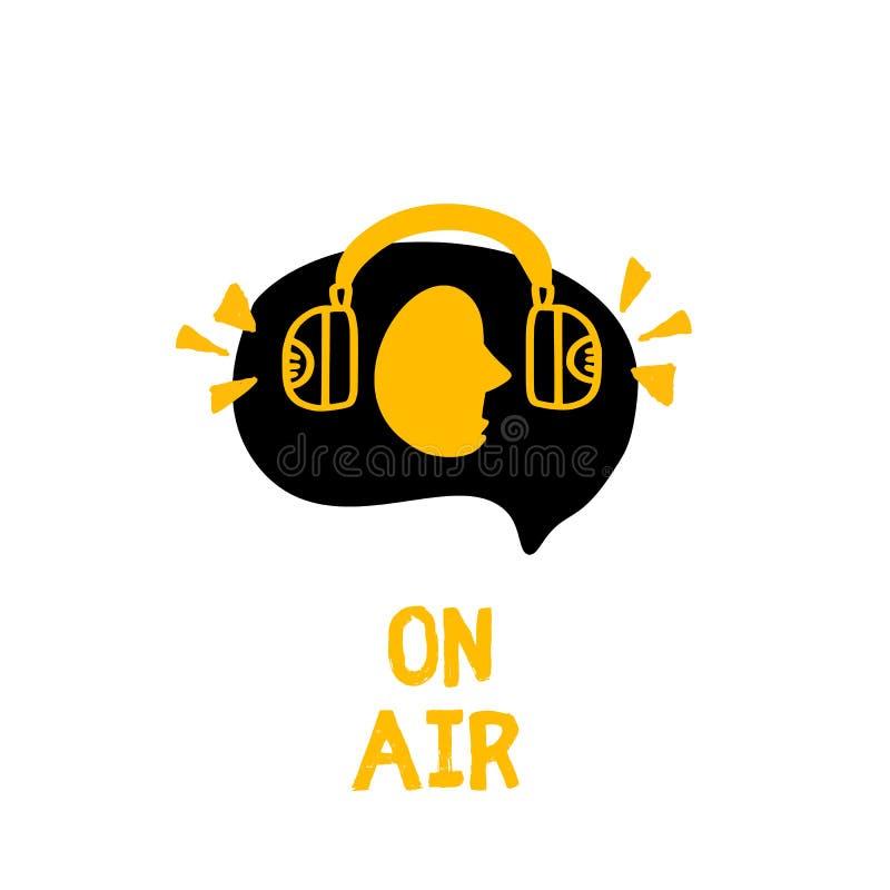 Obsługuje w hełmofonu pojęcia wektorze Podcast logo w grunge stylu Muzyka na ?ywo Wyemitowany symbol royalty ilustracja
