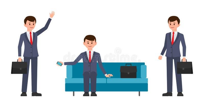 Obsługuje, w zmroku - błękitny kostiumu obsiadanie na kanapie, mienia smartphone Mężczyzna, z teczki falowania ręką i ono uśmiech ilustracji