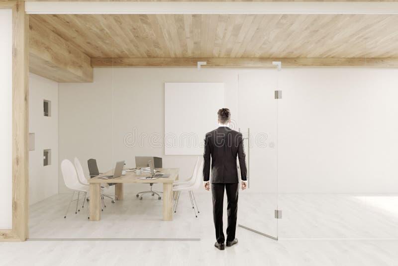 Obsługuje wchodzić do sala konferencyjną z szklanymi ścianami i drzwiami ilustracji