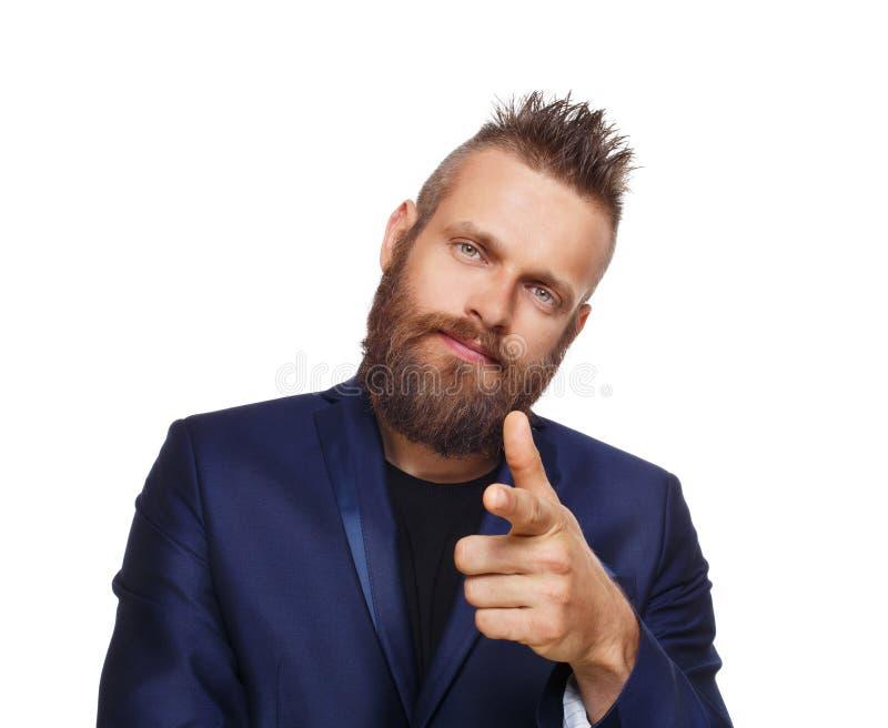 Obsługuje wskazywać przy tobą, brodaty facet odizolowywający na bielu fotografia royalty free