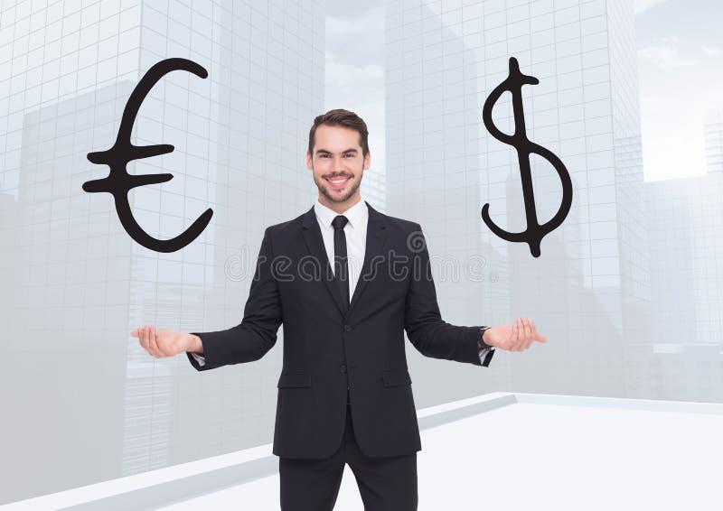 Obsługuje wybierać walutę z otwartymi palmowymi rękami lub decydować euro lub dolarową ilustracji