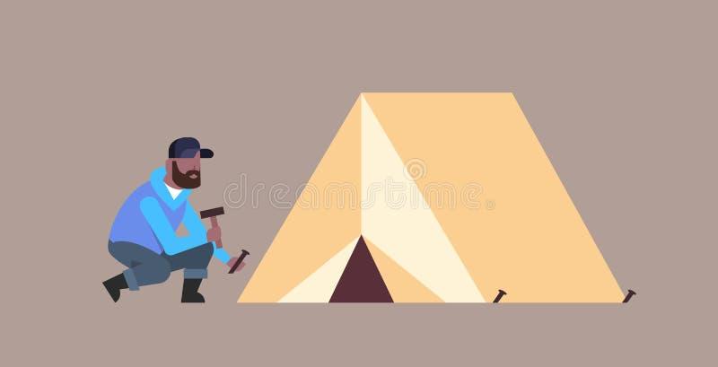 Obsługuje wycieczkowicza obozowicza instaluje namiotowego narządzanie dla obozuje wycieczkuje pojęcia amerykanin afrykańskiego po royalty ilustracja