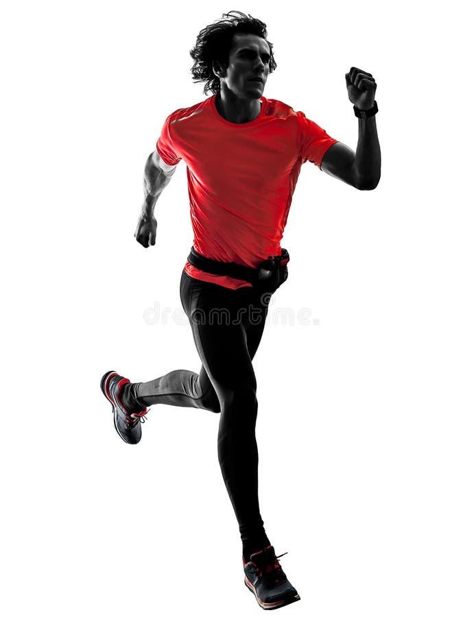 Obs?uguje biegacza dzia?aj?cego jogger jogging odosobnionej sylwetki bia?ego bac zdjęcia royalty free