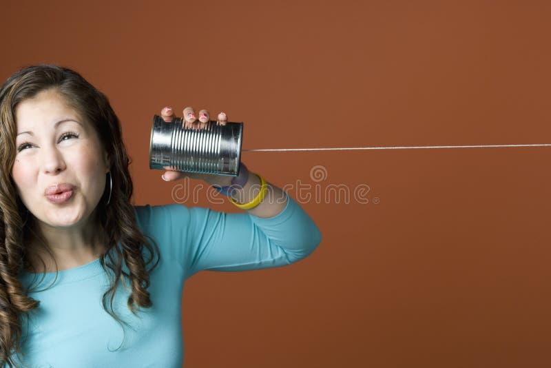 Obsceen telefoongesprek stock foto