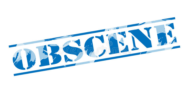 Obscene blue stamp. Isolated on white background vector illustration