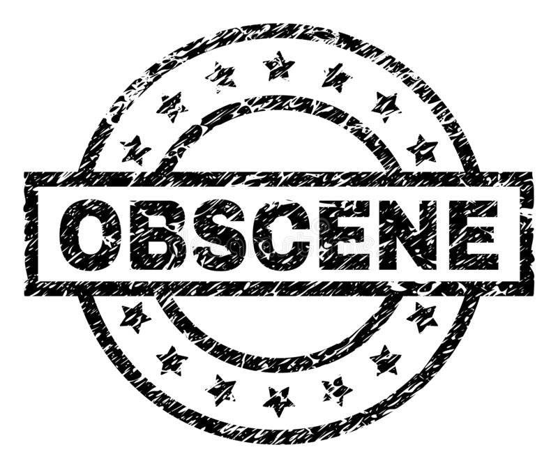Scratched Textured OBSCENE Stamp Seal. OBSCENE stamp seal watermark with distress style. Designed with rectangle, circles and stars. Black vector rubber print of vector illustration