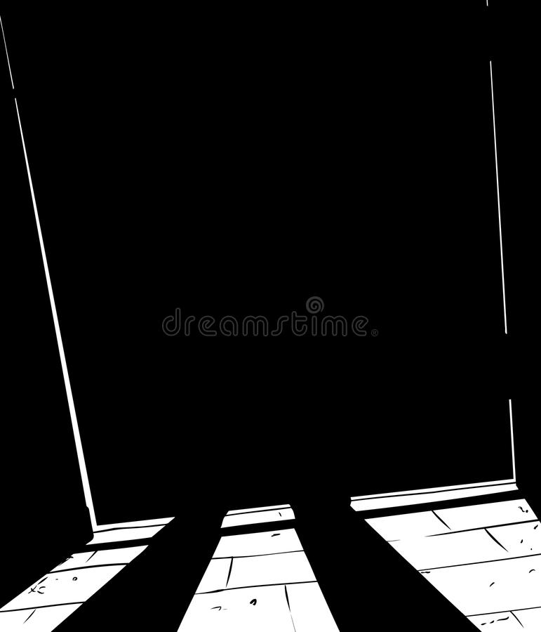 Obscured figure standing behind shut door stock illustration