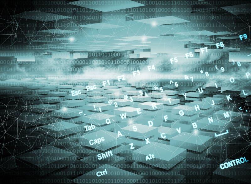Obscuridade abstrata - fundo azul da tecnologia digital ilustração stock