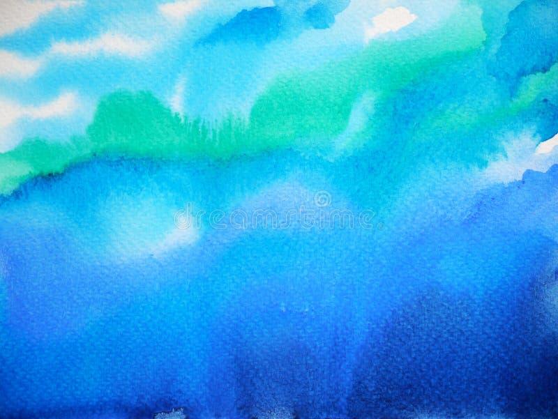 Obscuridade abstrata - pintura da aquarela da onda de oceano do mar da água do céu azul ilustração stock