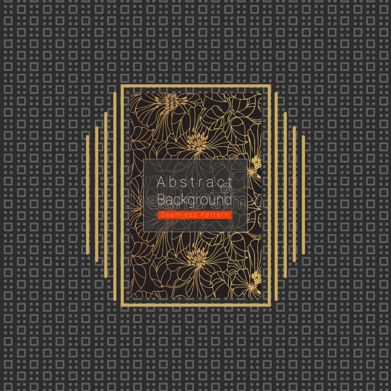 Obscuridade abstrata - teste padrão sem emenda cinzento com quadro dourado no centro ilustração royalty free