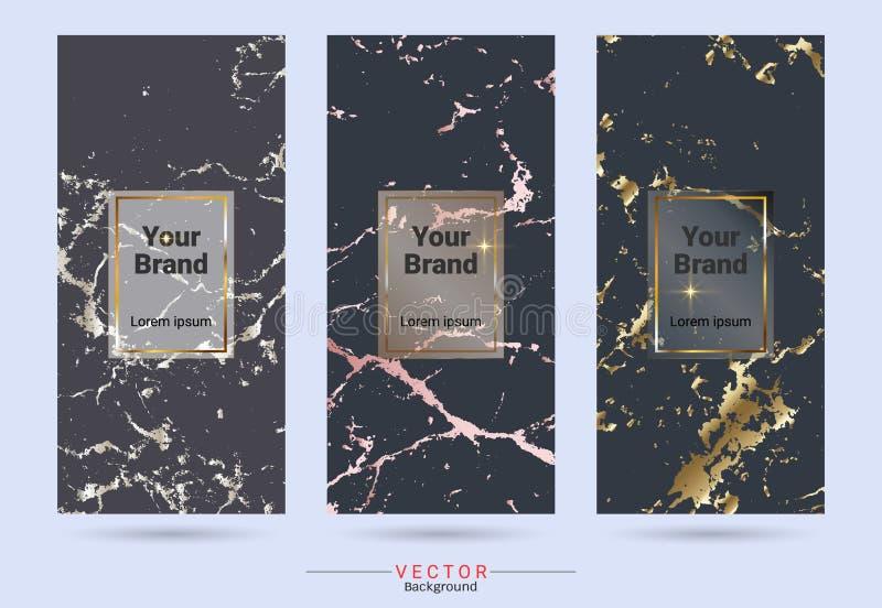 Obscuridade colorida e etiqueta do projeto de produto do ouro e moldes de empacotamento das etiquetas ilustração do vetor