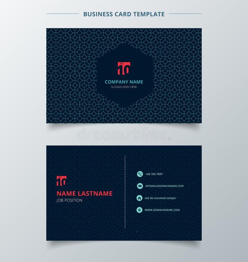 Obscuridade criativa do molde do cartão do cartão e de nome - cor azul mo ilustração stock