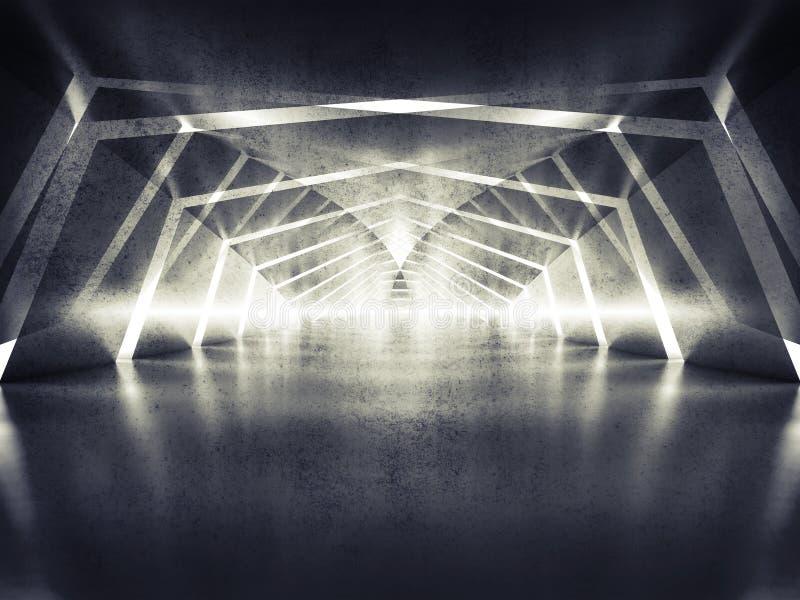 obscuridade 3d abstrata que brilha o fundo surreal do interior do túnel ilustração royalty free