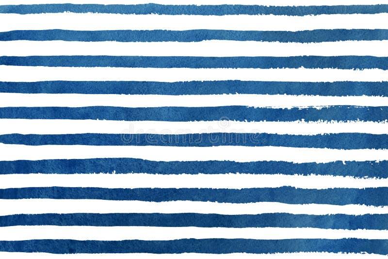 Obscuridade da aquarela teste padrão do grunge da listra azul ilustração royalty free