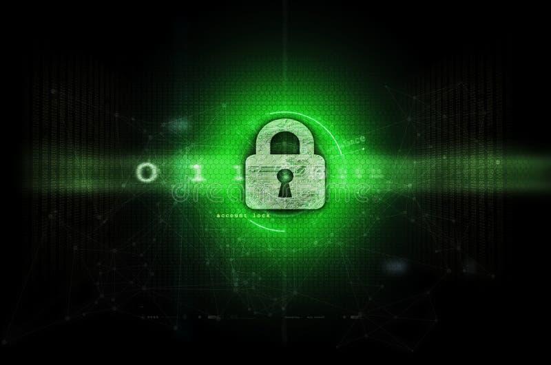 Obscuridade da ilustração de Cybersecurity - verde fotografia de stock royalty free