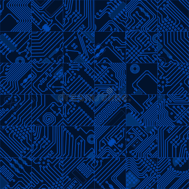 Obscuridade da placa de circuito do computador - teste padrão azul - vector olá! o te sem emenda ilustração royalty free