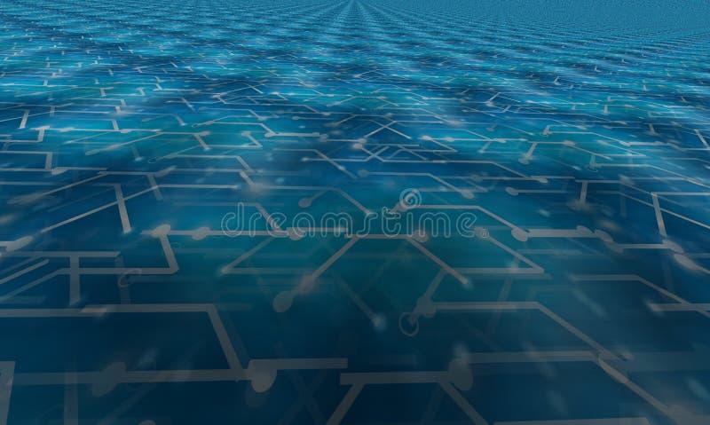 Obscuridade digital infinita do assoalho do fundo 3d - projeto azul imagens de stock royalty free