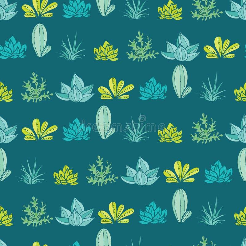 Obscuridade do vetor - o verde azul listra o teste padrão sem emenda da repetição com plantas carnudas e os cactos crescentes em  ilustração royalty free