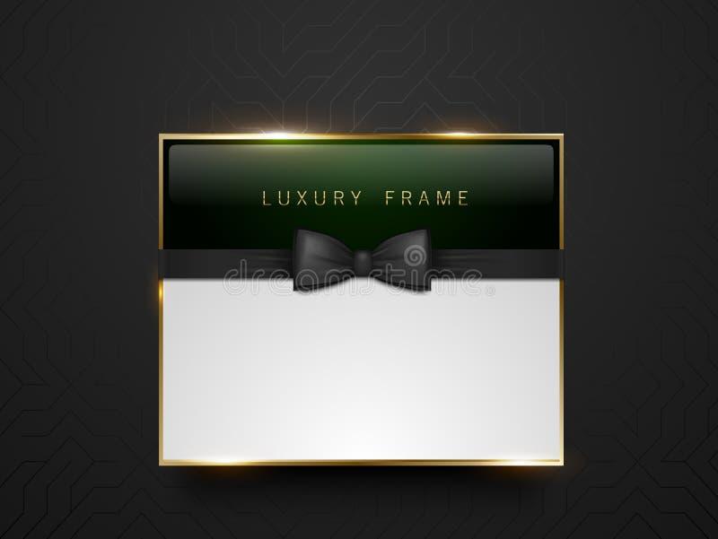Obscuridade do Vip - etiqueta do vidro verde com quadro dourado e laço preto no fundo geométrico de seda preto Lugar branco do te ilustração stock